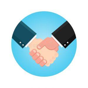 accord-d-homme-d-affaires-de-poignee-de-main-se-serrer-la-main-l-ic-ne-d-affaires-sur-un-bleu-style-plat-d-illustration-de-78819498